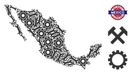 Repair service Mexico map composition of service tools. Abstract territorial plan in grey color and best quality award. Vector Mexico map is created from gear wheels and wrenches. Illustration