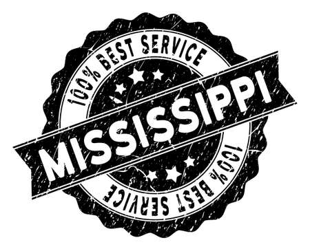 Mississippi State stamp with Best Quality words. Vector black seal watermark imitation with scratched texture.