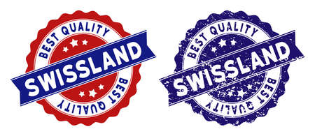 Swissland stamps with Best Quality caption, blue grunge and blue and red clean versions. Vector seal imprint imitation with grunge effect. Ilustração