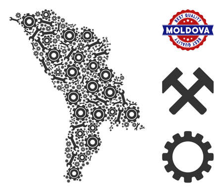 Repair service Moldova map composition of service tools. Abstract territory scheme in gray color and best quality award. Vector Moldova map is designed of cogwheels and spanners.