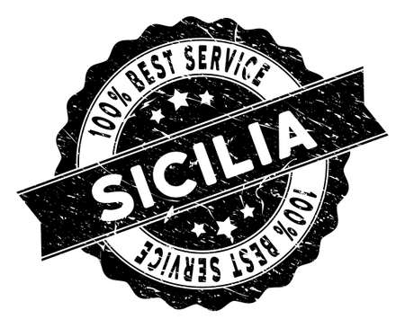 Sicilia stamp with Best Quality label. Vector black seal watermark imitation with grunge effect. Reward vector rubber seal stamp with grunge design for Sicilia products and services.