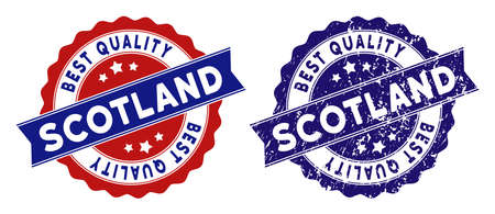 Scotland stamps with Best Quality label, blue grunge and blue and red clean versions. Vector seal imprint imitation with grunge surface.