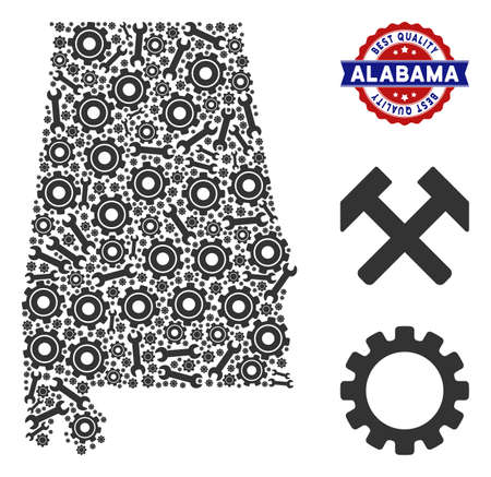 Repair service Alabama State map composition of service tools. Abstract territory scheme in gray color and best quality reward. Vector Alabama State map is organized of cogs and wrenches. Ilustração