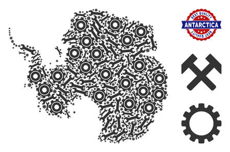 Service Antarctica map mosaic of service tools. Abstract territorial scheme in grey color and best quality reward. Vector Antarctica map is constructed from gear wheels and wrenches. 일러스트