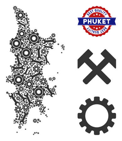 Repair service Phuket map composition of service tools. Abstract geographic scheme in grey color and best quality stamp. Vector Phuket map is created of gearwheels and wrenches. Фото со стока - 114795033