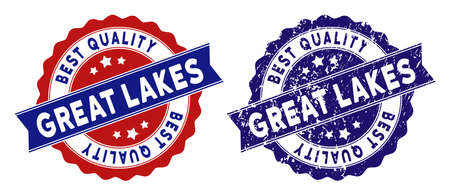 Great Lakes stamps with Best Quality label, blue grunge and blue and red clean versions. Vector seal print imitation with grunge texture.