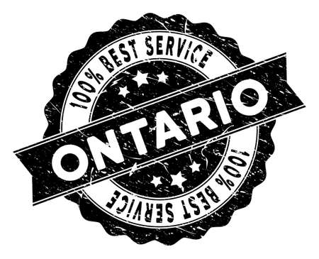 Ontario Province stamp with Best Quality text. Vector black seal watermark imitation with distress style. Reward vector rubber seal stamp with grunge design for Ontario Province products and services.