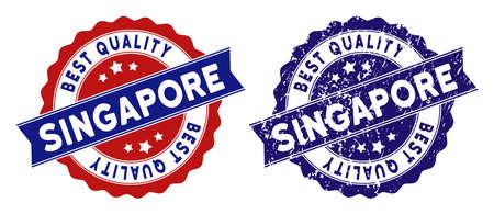 Sellos de Singapur con etiqueta de Mejor Calidad, grunge azul y versiones limpias en azul y rojo. Imitación de impresión de sello de vector con estilo grunge.