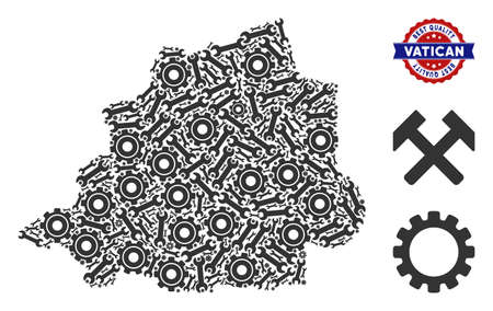Repair workshop Vatican map composition of service tools. Abstract territory scheme in gray color and best quality mark. Vector Vatican map is designed of cogs and spanners. Concept of technical work.