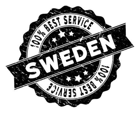 Sweden stamp with Best Quality text. Vector black seal imprint imitation with grunge style. Award vector rubber seal stamp with grunge design for Sweden products and services. Stock Illustratie