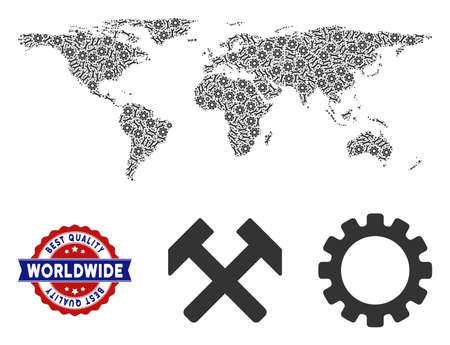 Service world map composition of service tools. Abstract geographic plan in grey color and best quality badge. Vector world map is formed of gears and wrenches. Concept of maintenance workshop.