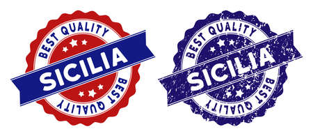 Sicilia stamps with Best Quality title, blue grunge and blue and red clean versions. Vector seal print imitation with grunge style.