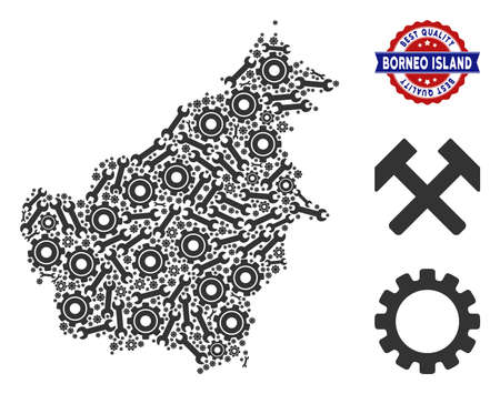 Repair service Borneo Island map mosaic of service tools. Abstract geographic scheme in gray color and best quality reward. Vector Borneo Island map is constructed of gear wheels and spanners. Ilustração