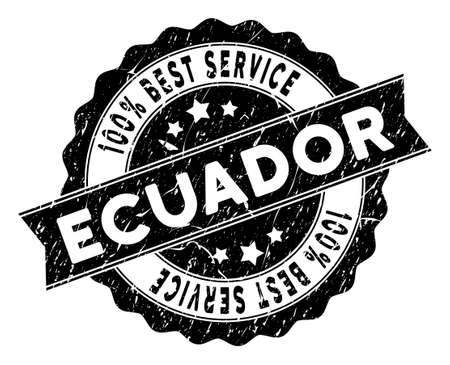 Ecuador stamp with Best Quality caption. Vector black seal imprint imitation with grunge effect. Award vector rubber seal stamp with grunge design for Ecuador products and services.