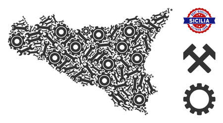 Service Sicilia map composition of service tools. Abstract territory plan in grey color and best quality stamp. Vector Sicilia map is made of cogwheels and spanners. Concept of tuning company.