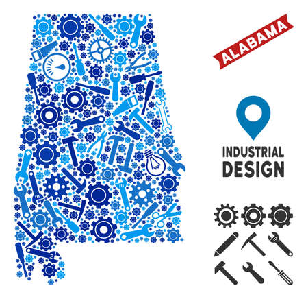 Instrument Alabama State map composition of cogs, wrenches, hammers and other instruments. Abstract geographic scheme in blue color tints. Vector Alabama State map is made of equipment items.