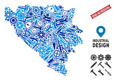 Workshop Bosnia and Herzegovina map mosaic of gearwheels, spanners, hammers and other tools. Abstract territorial scheme in blue color tinges. Vector Bosnia and Herzegovina map is made of instruments.