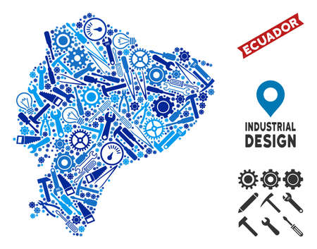 Industrial Ecuador map collage of wheels, spanners, hammers and other hardware. Abstract geographic scheme in blue color tinges. Vector Ecuador map is formed of mechanic parts. Ilustração