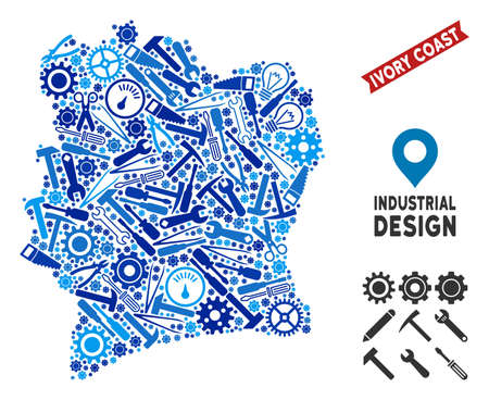 Workshop Ivory Coast map composition of wheels, wrenches, hammers and other tools. Abstract territorial plan in blue color tinges. Vector Ivory Coast map is constructed of tools.  イラスト・ベクター素材