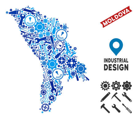 Service Moldova map composition of cogwheels, spanners, hammers and other hardware. Abstract territorial scheme in blue color tones. Vector Moldova map is shaped of instruments. Illustration