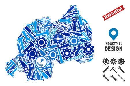 Workshop Rwanda map mosaic of wheels, wrenches, hammers and other hardware. Abstract territorial scheme in blue shades. Vector Rwanda map is formed of mechanic parts. Concept of industrial job. Illustration