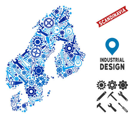 Industrial Scandinavia map collage of cogwheels, wrenches, hammers and other instruments. Abstract territorial plan in blue color tones. Vector Scandinavia map is composed of instruments.