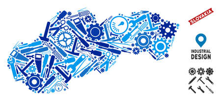 Industrial Slovakia map composition of wheels, wrenches, hammers and other instruments. Abstract territorial scheme in blue color hues. Vector Slovakia map is done of instruments.
