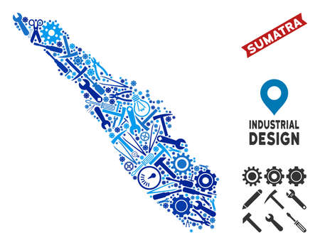 Service Sumatra Island map collage of wheels, wrenches, hammers and other instruments. Abstract geographic plan in blue color hues. Vector Sumatra Island map is shaped of instruments.