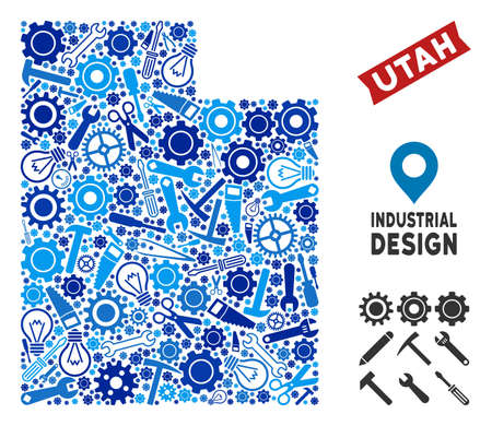 Instrument Utah State map collage of cogwheels, wrenches, hammers and other tools. Abstract geographic scheme in blue color tints. Vector Utah State map is composed of tools. Concept of technical job. 向量圖像