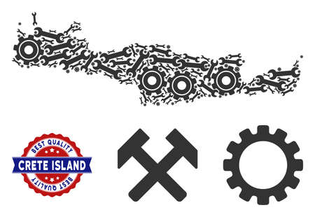Repair service Crete Island map composition of service tools. Abstract territorial plan in gray color and best quality stamp. Vector Crete Island map is organized of gears and wrenches.