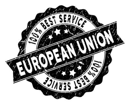 European Union stamp with Best Quality title. Vector black seal imprint imitation with grunge texture. Reward vector rubber seal stamp with grunge design for European Union products and services. Stock Illustratie