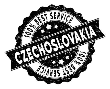 Czechoslovakia stamp with Best Quality label. Vector black seal print imitation with grunge surface. Reward vector rubber seal stamp with grunge design for Czechoslovakia products and services.  イラスト・ベクター素材