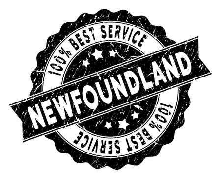 Newfoundland Island stamp with Best Quality caption. Vector black seal watermark imitation with grunge effect. Иллюстрация