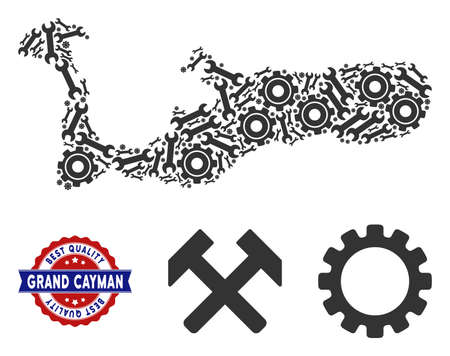 Repair service Grand Cayman Island map composition of service tools. Abstract territory plan in grey color and best quality stamp.