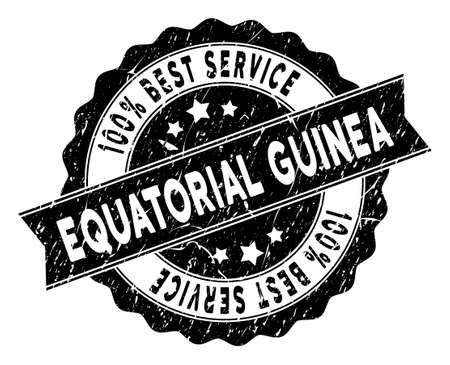 Equatorial Guinea stamp with Best Quality label. Vector black seal watermark imitation with grunge effect.