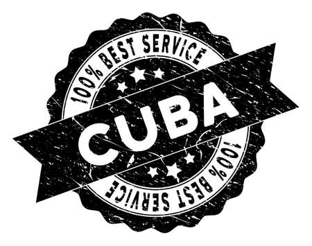 Cuba stamp with Best Quality caption. Vector black seal watermark imitation with grunge effect. Reward vector rubber seal stamp with grunge design for Cuba products and services.