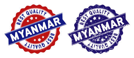 Myanmar stamps with Best Quality caption, blue grunge and blue and red clean versions. Vector seal imprint imitation with grunge style.
