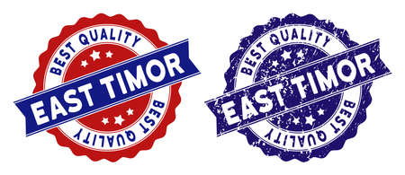 East Timor stamps with Best Quality label, blue grunge and blue and red clean versions. Vector seal print imitation with grunge style.