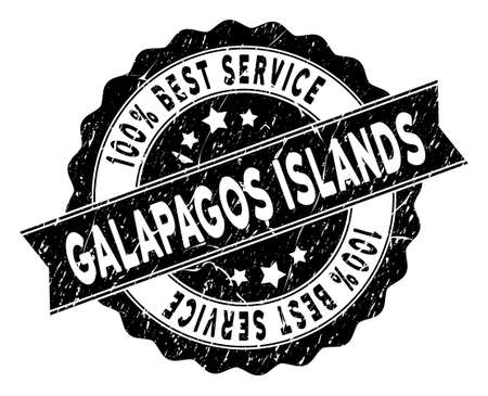 Galapagos Islands stamp with Best Quality words. Vector black seal watermark imitation with grunge texture.