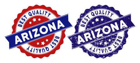 Arizona State stamps with Best Quality label, blue grunge and blue and red clean versions. Vector seal imprint imitation with grunge effect.