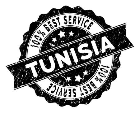 Tunisia stamp with Best Quality caption. Vector black seal watermark imitation with distress style. Reward vector rubber seal stamp with grunge design for Tunisia products and services.