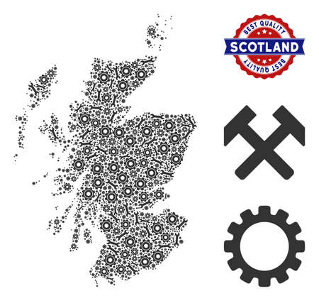 Service Scotland map composition of service tools. Abstract geographic plan in gray color and best quality award. Vector Scotland map is composed of gearwheels and wrenches. Ilustración de vector