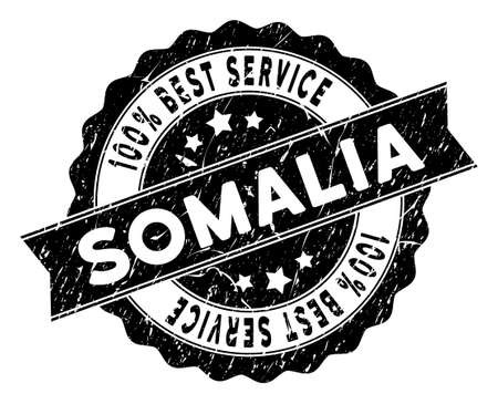 Somalia stamp with Best Quality caption. Vector black seal imprint imitation with scratched surface. Award vector rubber seal stamp with grunge design for Somalia products and services. Ilustração