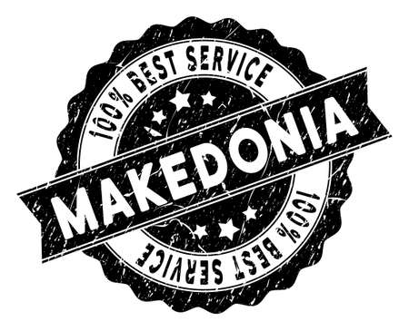 Makedonia stamp with Best Quality label. Vector black seal print imitation with grunge surface. Award vector rubber seal stamp with grunge design for Makedonia products and services.