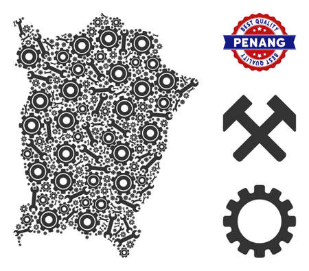 Repair workshop Penang Island map composition of tools. Abstract territory scheme in gray color and best quality mark. Vector Penang Island map is done of gear wheels and spanners.