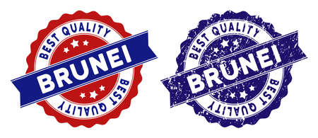 Brunei stamps with Best Quality title, blue grunge and blue and red clean versions. Vector seal print imitation with grunge surface.