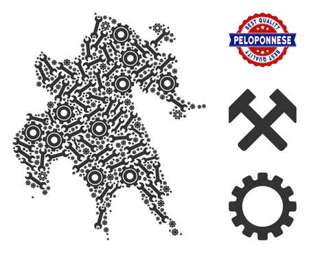 Service Peloponnese Peninsula map collage of service tools. Abstract geographic plan in grey color and best quality mark. Vector Peloponnese Peninsula map is constructed of gearwheels and wrenches.