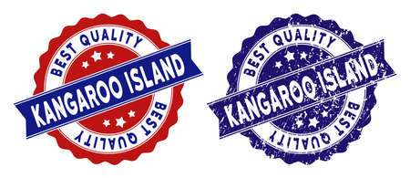 Kangaroo Island stamps with Best Quality label, blue grunge and blue and red clean versions. Vector seal print imitation with grunge style.
