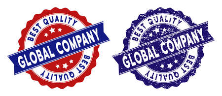 Global Company stamps with Best Quality words, blue grunge and blue and red clean versions. Vector seal watermark imitation with grunge texture.