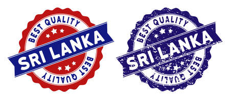 Sri Lanka Island stamps with Best Quality words, blue grunge and blue and red clean versions. Vector seal imprint imitation with grunge texture.